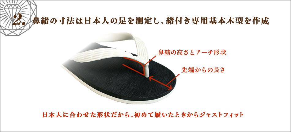 2. 鼻緒の寸法は日本人の足を測定し、緒付き専用基本木型を作成